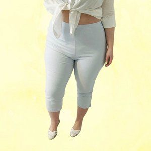 90's blue gingham high waist capri pants